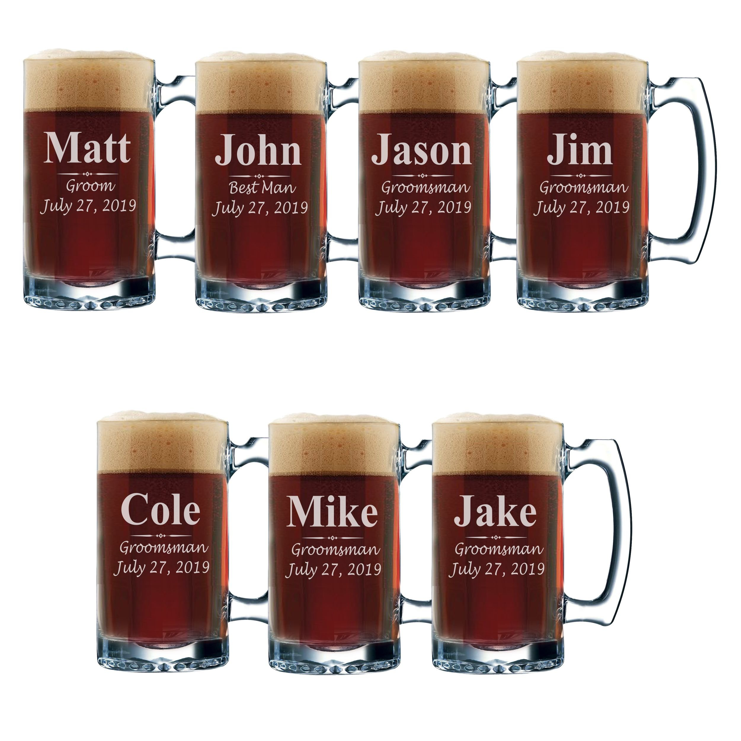 Set of 3, Set of 5 Set of 7 and more Personalized Groomsmen Beer Glasses - Custom Engraved Groom, Best Man Gift Mugs - 3 Lines Style 12 oz (7)