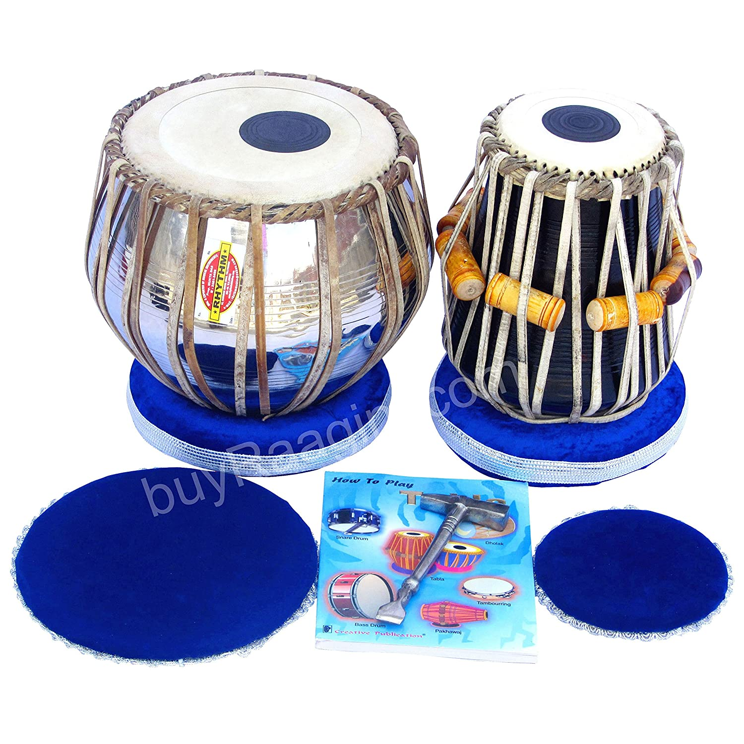 Mukta Das Tabla Set, Professional Tabla, 2.5 Kilograms Brass Bayan, Sheesham Tabla Dayan - Tuneable To C Sharp, Padded Bag, Book, Hammer, Cushions, Cover, Tabla Hand Drums (PDI-AIF) Maharaja Musicals