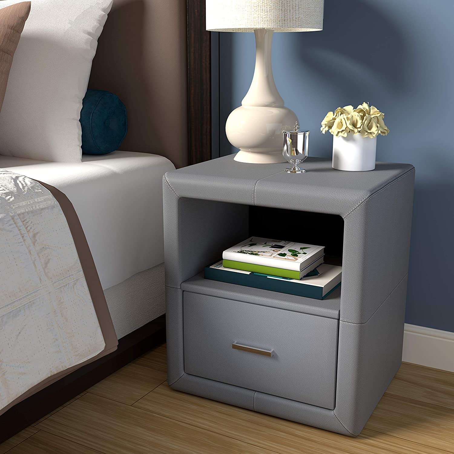 Boyd Sleep Contemporary Bedroom Furniture: Lombardi Upholstered Nightstand with Single Drawer and Open Shelf, Faux Leather, Grey