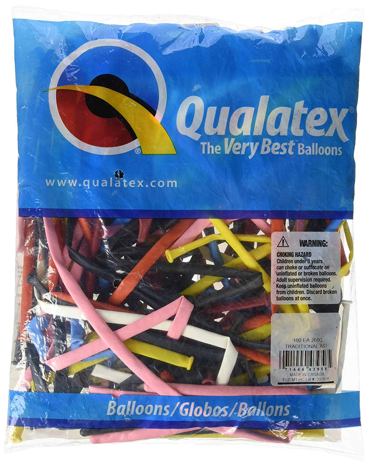 Qualatex 45195 260QTROPICAL AST 100CT Modelling or Twisting Balloons