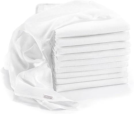 Muselina / Paño algodón bebe - 10 Ud., 80x80 cm, blanco, CALIDAD ...