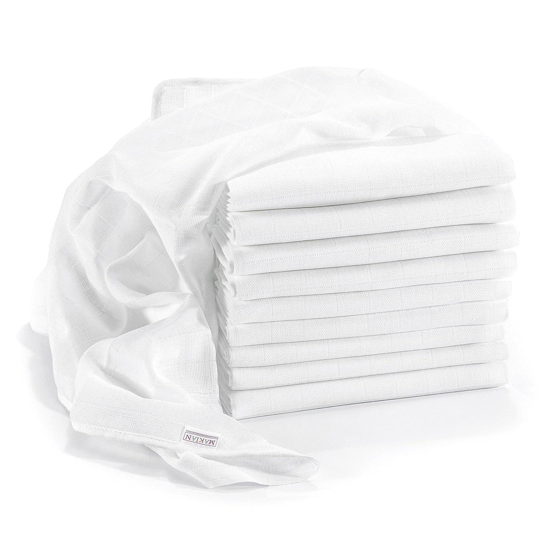 Muselina / Paño algodón bebe - 10 Ud., 80x80 cm, blanco | CALIDAD SUPERIOR - sin sustancias nocivas, tejido doble, certificado OEKO-TEX, bordes reforzados, lavable a 90° lavable a 90° MAKIAN 020714HPB10