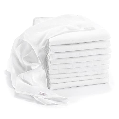 Lange bébé en mousseline de coton | Lot de 10 | 80 x 80 cm | Qualité supérieure - Couleur blanc, double tissage, bordure renforcée, certifié Öko-Tex Standard 100, lavable à 90° C