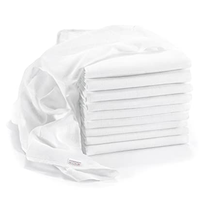 Premium Quality Muslin Nappies / Burp Cloths - 10 Pack - 80 x 80 cm, White; Premium Qualitiy, Tested for Harmful Substances, Double Weft, Öko-Tex Certified, Reinforced Edges, Washable Nappy and Muslin Squares for Babies