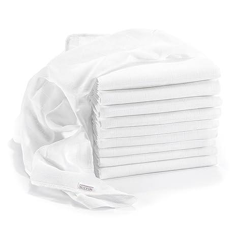 Muselina / Paño algodón bebe - 10 Ud., 80x80 cm, blanco | CALIDAD SUPERIOR - sin sustancias nocivas, tejido doble, certificado OEKO-TEX, bordes reforzados, ...