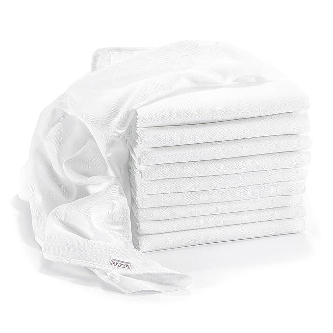 Muselina / Paño algodón bebe - 10 Ud., 80x80 cm, blanco   CALIDAD SUPERIOR - sin sustancias nocivas, tejido doble, certificado OEKO-TEX, bordes reforzados, ...