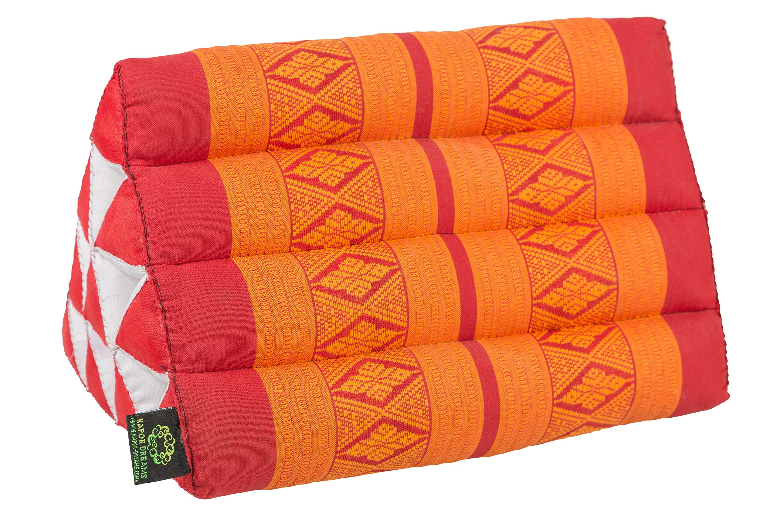 Kapok Dreams Triangle Pillow 13''x8'', Triangular Cushion (Medium Size), 100% Kapok-Stuffing Red & Orange. by Kapok Dreams