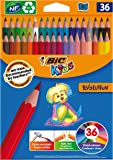 BIC 950526 Kids Evolution Crayons de couleur – Couleurs assorties (Lot de 36)
