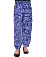 Harem Fashionable Stylish comfortable Regular Fit Printed Indo Western Bottom Wear Elastic Closure Ankle Length blue pyjama for women's / girls/ ladies by Shop frenzy