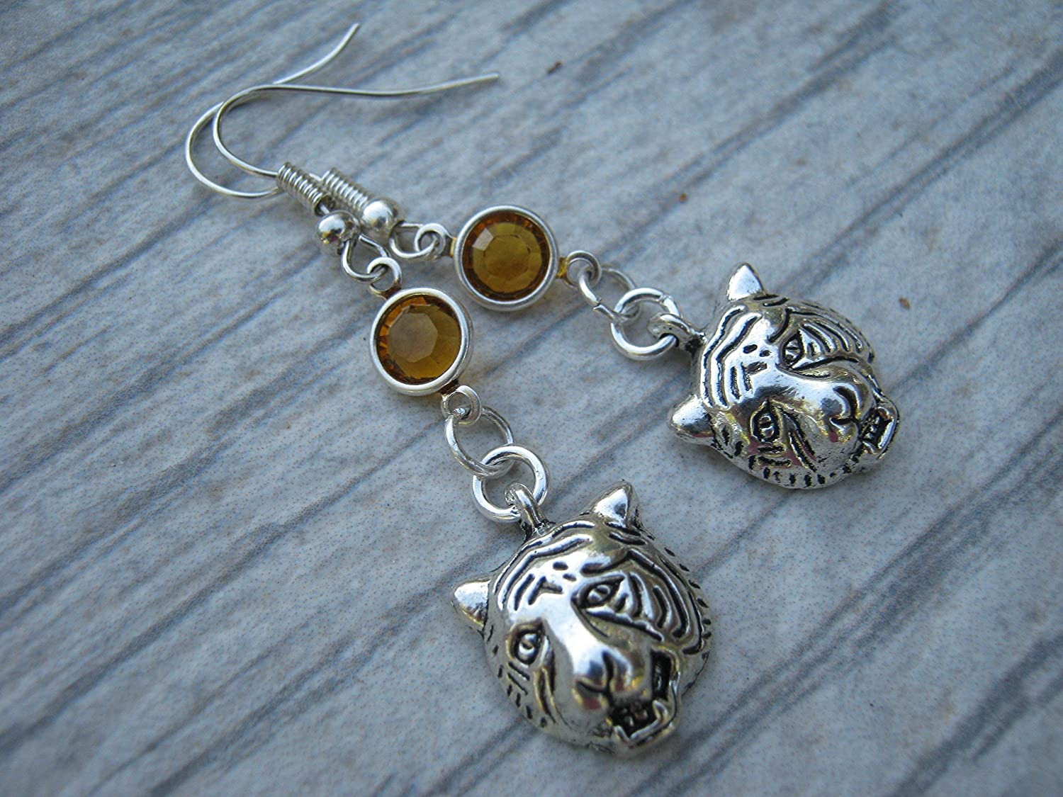 Wild Jewelry Personalized Bengal Tiger Earrings Big Cat Charm Tiger Birthstone Earrings Exotic Creature Asia Animal Earrings