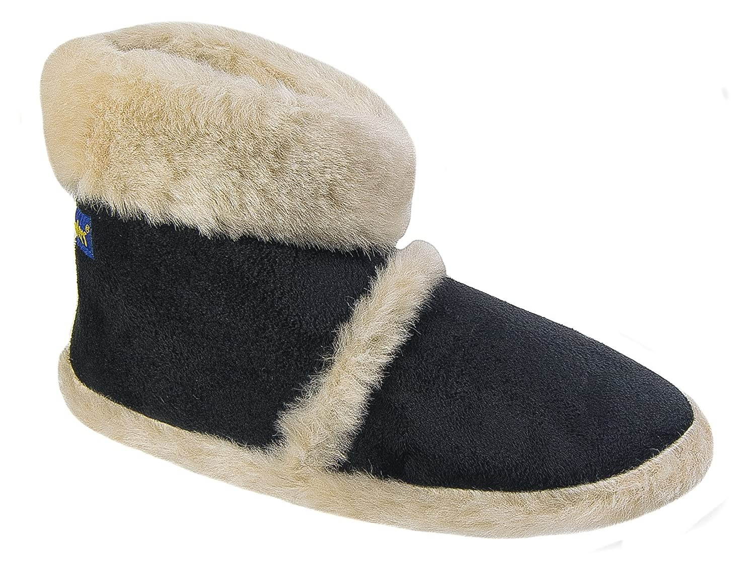 7105c9ffb Coolers Womens Ladies Boot Slippers/Black Warm Lined Fluffy Slip On:  Amazon.co.uk: Shoes & Bags