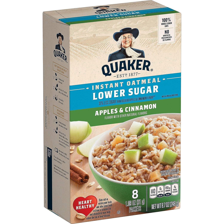 Quaker Instant Oatmeal Apple Cinnamon, Lower Sugar, 10Count Box, 10Count