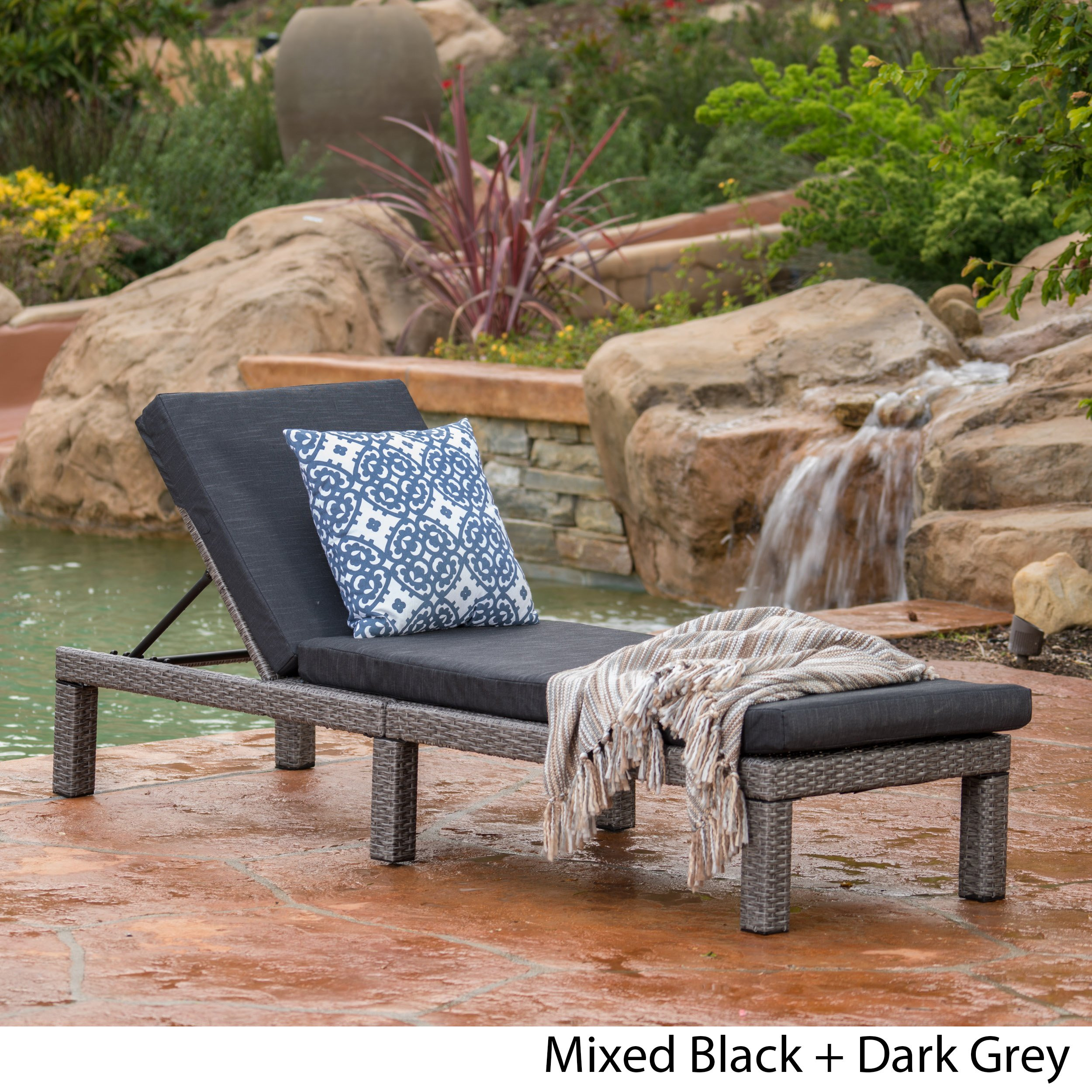 Venice Outdoor Mixed Black Wicker Chaise Lounge with Dark Grey Water Resistant Cushion by Great Deal Furniture