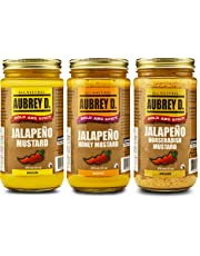 Aubrey D. Hot and Sweet Jalapeno Honey Mustard, Spicy Jalapeno Mustard and Jalapeno Horseradish Mustard ,375ml 36 oz x 1