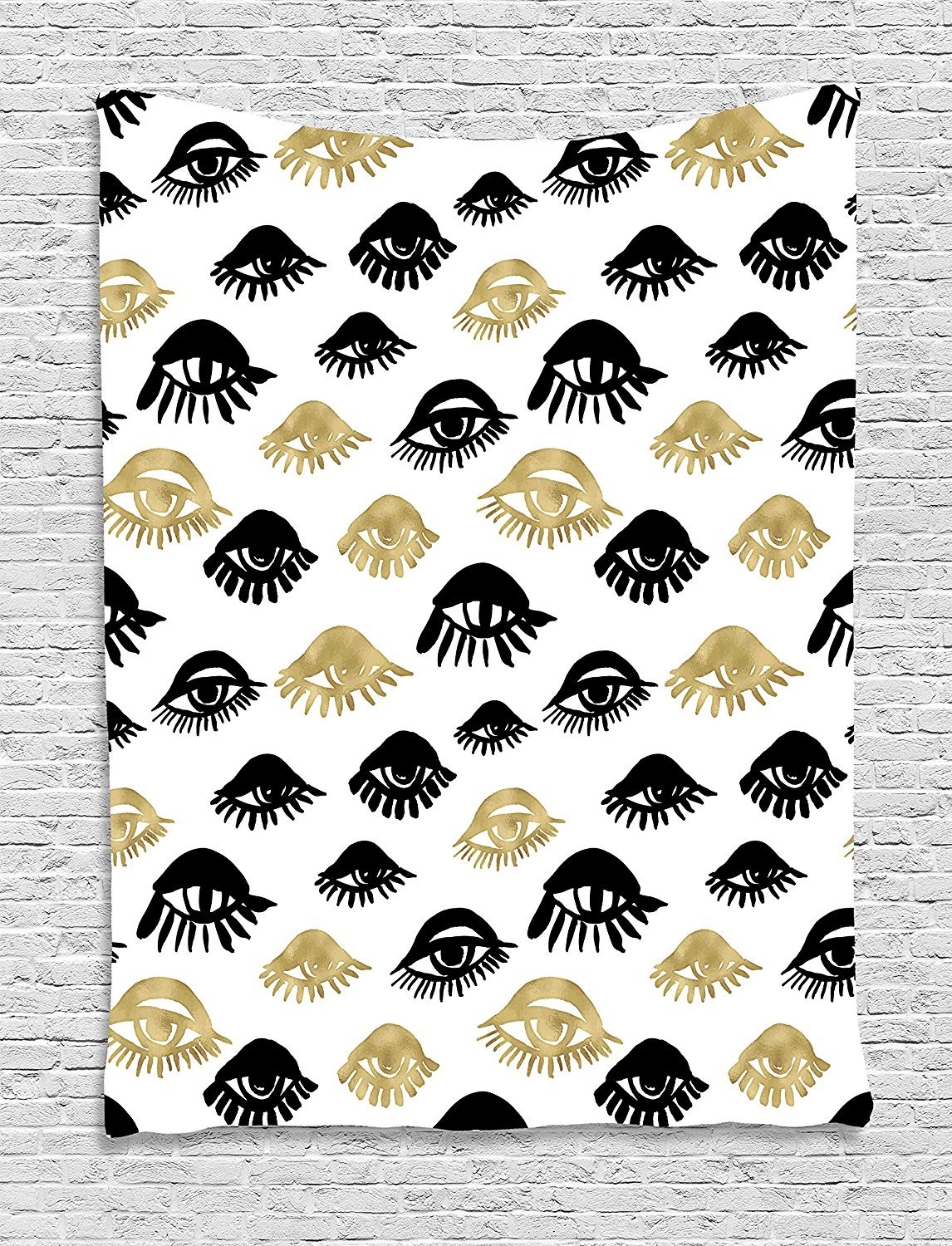 Trippy Tapestry, Sexy Woman Eyes with Eyelash Unusual Style Fashion Icon Modern Design Print, Wall Hanging for Bedroom Living Room Dorm, 40 W X 60 L Inches, Gold and Black
