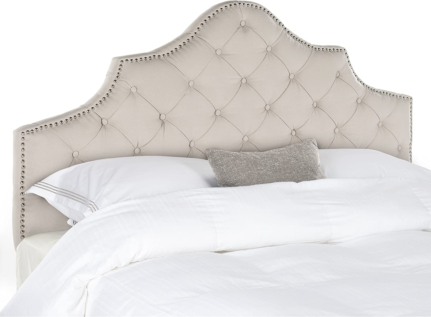 Safavieh Arebelle Taupe Linen Upholstered Tufted Headboard – Silver Nailhead King