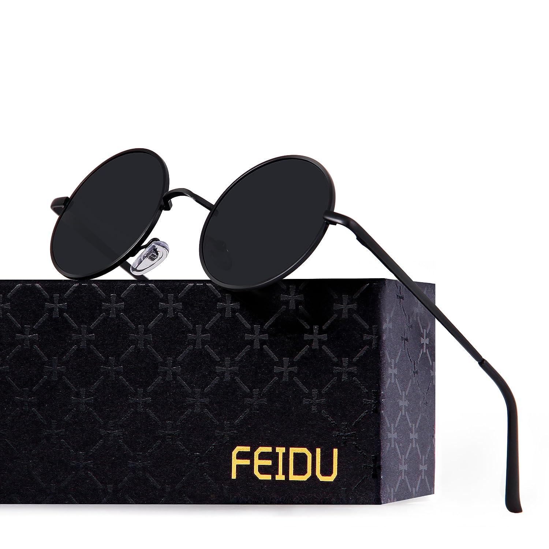 FEIDU Retro Polarized Round Sunglasses for Men Vintage Sunglasses Women FD3013 1.81) 87-J6MA-L7YN