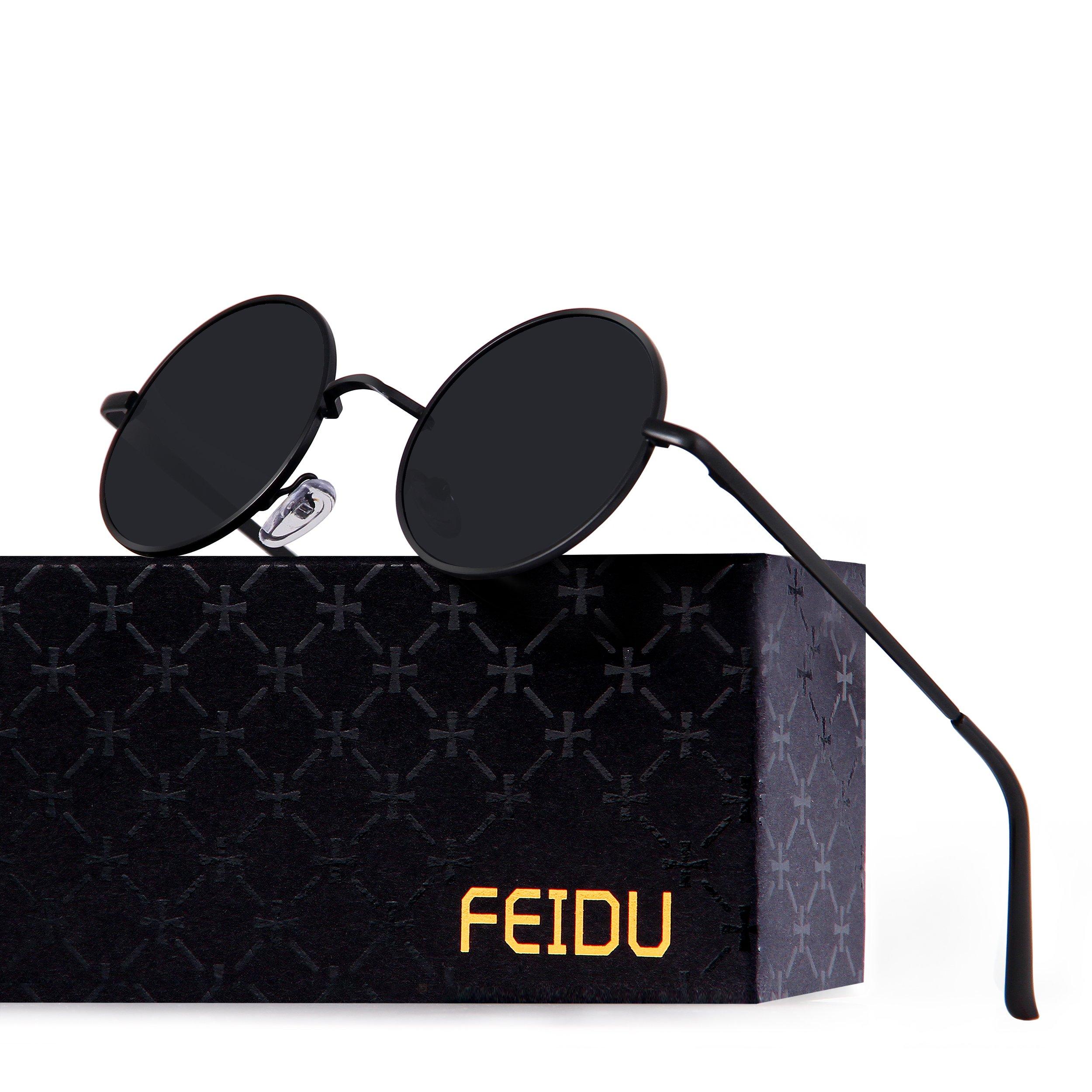 FEIDU-Men Round Retro Polarized Sunglasses Women Vintage Sunglasses FD3013 (Black/Black, 1.81) by FEIDU