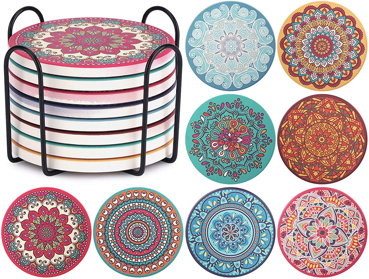 CHEFBEE Set of 8 Coaster for Drinks Absorbent Mandala Ceramic Coasters with Cork Base, Metal Holder, Stone Coasters Set for Wooden Table, Great Home and Dining Room Decor, Housewarming Gift