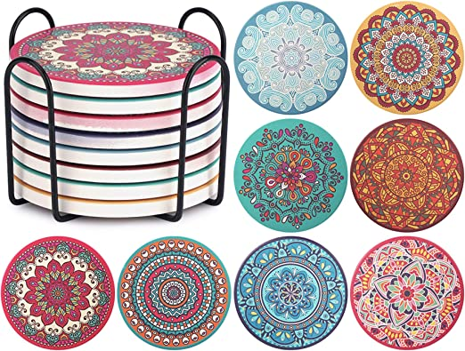 Amazon Com Chefbee Set Of 8 Coaster For Drinks Absorbent Mandala Ceramic Coasters With Cork Base Metal Holder Stone Coasters Set For Wooden Table Great Home And Dining Room Decor Housewarming Gift Kitchen