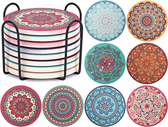 Metal Holder Kitchen House Decor Space Coasters for Birthday and Housewarming Set of 8 Stone Coasters with Cork Base VEHHE Ceramic Absorbent Coasters for Drinks