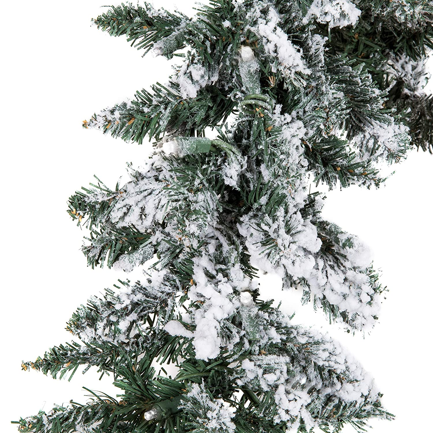 Green Best Choice Products 9ft Pre-Lit Snow Flocked Festive Artificial Christmas Garland Holiday Decoration with 100 Clear LED Lights