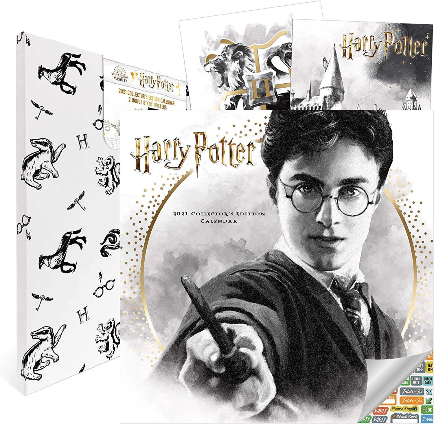 Harry Potter Calendar 2021 Bundle - Deluxe 2021 Harry Potter Collector's Edition Calendar with Over 100 Calendar Stickers (Harry Potter Gifts, Office Supplies)