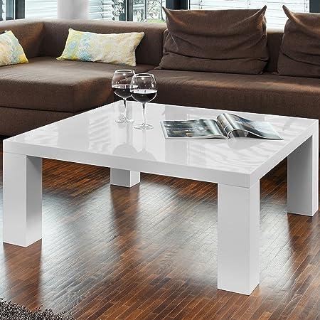 Couch Tisch Weiss Hochglanz Aus MDF 90x90cm Quadratisch