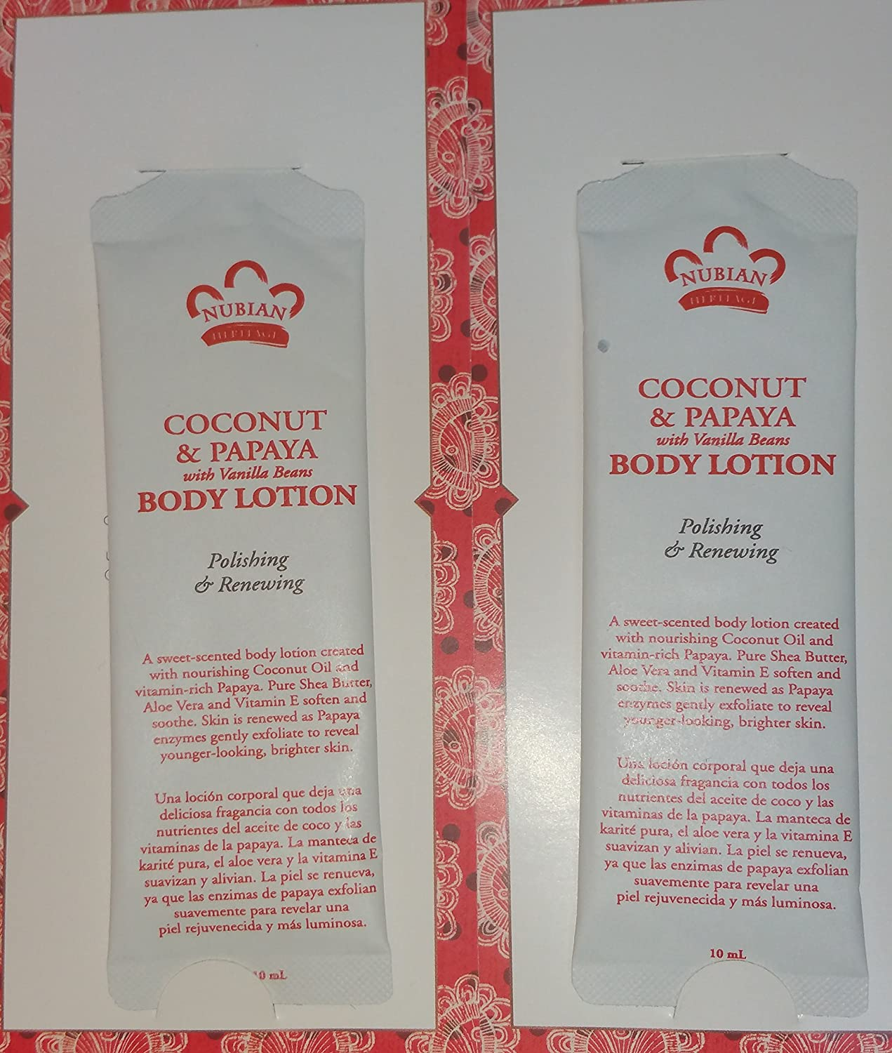 Amazon.com : 2 Nubian Coconut & Papaya Body Lotion Samples 10 ml each and 2 $1 off coupons : Beauty