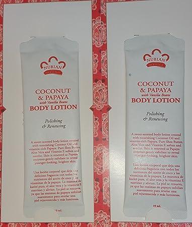 Amazon.com : 2 Nubian Coconut & Papaya Body Lotion Samples 10 ml ...