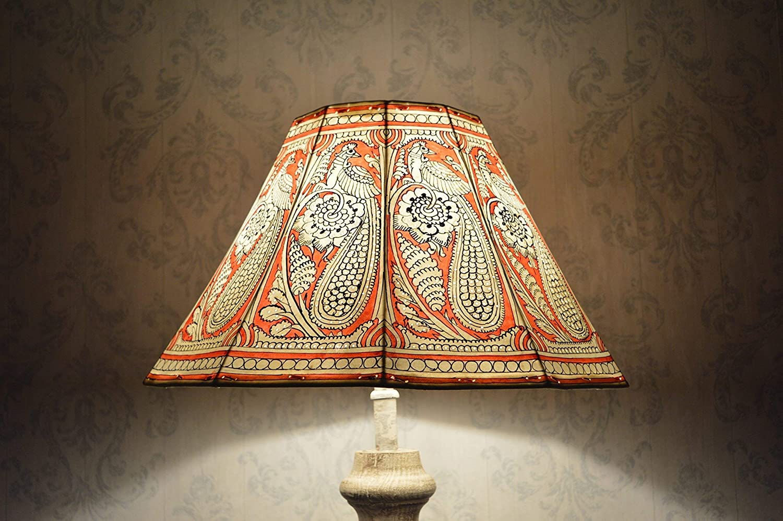 Peacock pattern Floor Lamp shade Large | Handmade Leather
