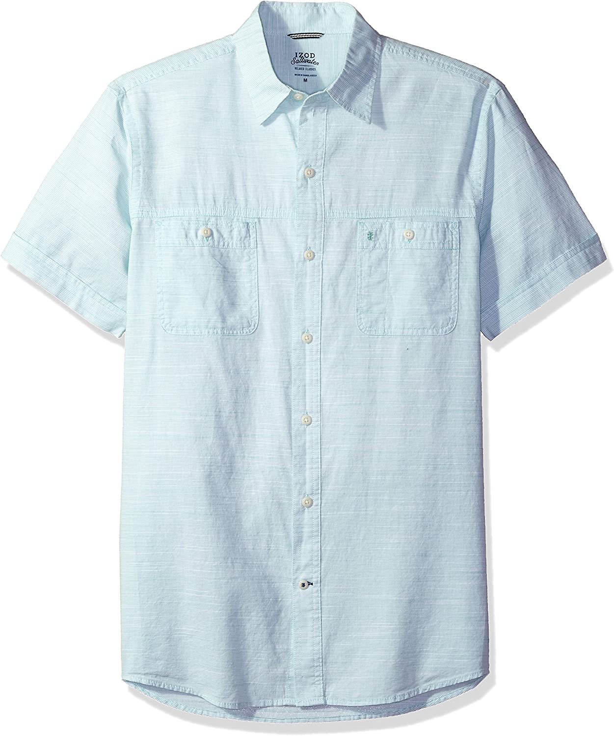 IZOD Mens Saltwater Dockside Chambray Short Sleeve Button Down Solid Shirt