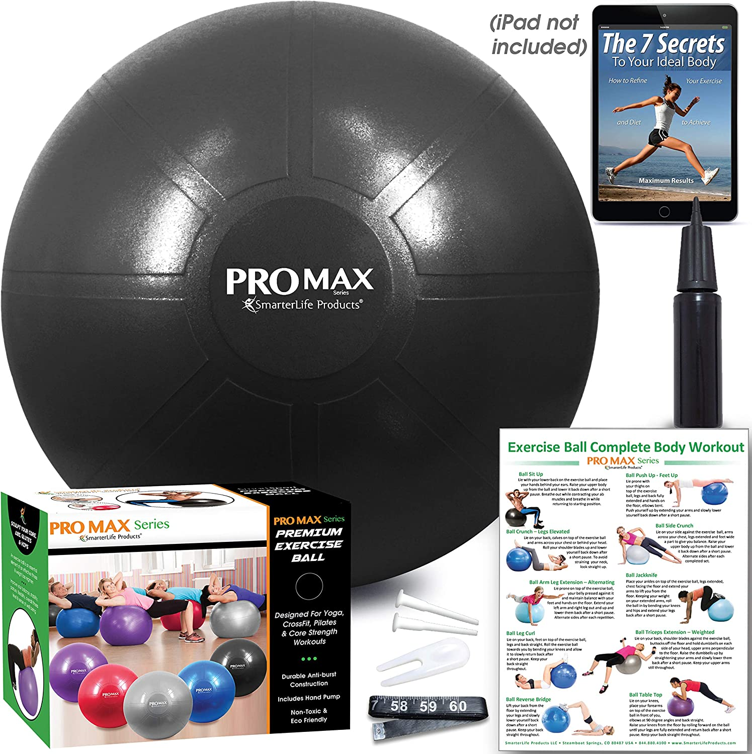 Birthing Therapy Classroom Flexible Seating Professional Grade Extra Thick Yoga Ball for Balance Fitness Pilates Office Ball Chair Stability SmarterLife PRO MAX Exercise Ball