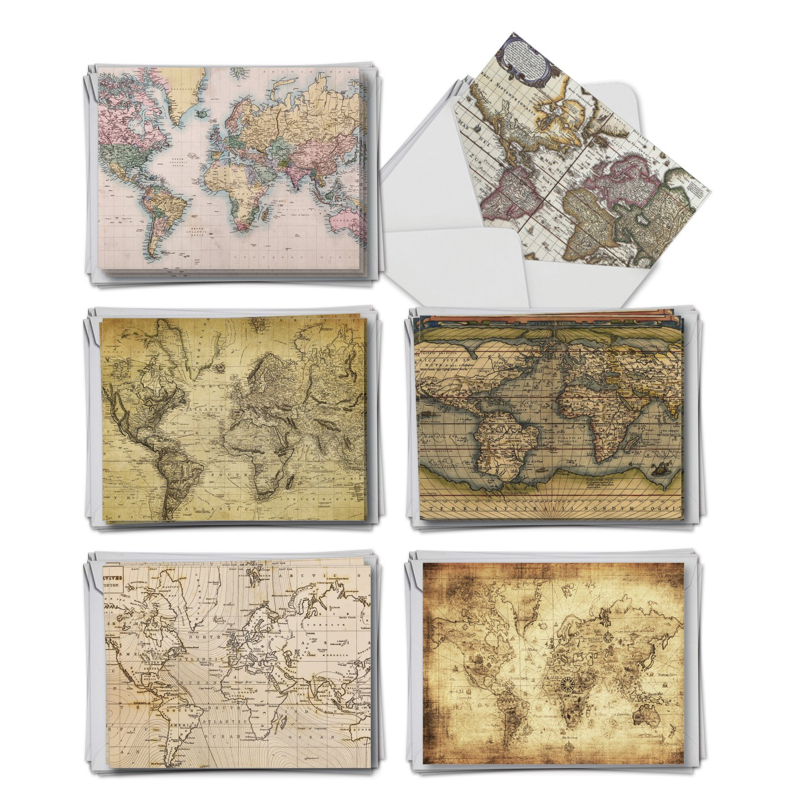 AM3076FTG-B6x6 Map Quests: 36 Assorted Thank You From Teacher Notecards Teacher TY, with Envelopes. (6 Each, of 6 Different Designs)