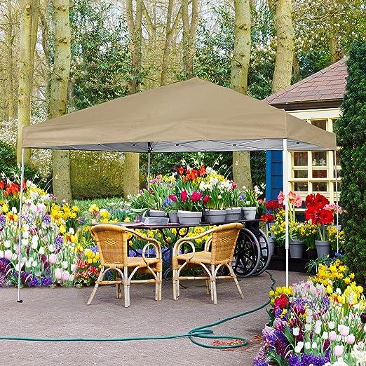 CMP, toldo con Revestimiento UV para Exteriores, jardín, toldos instantáneos, fácil de Instalar, con Bolsa de Transporte, Color marrón: Amazon.es: Jardín
