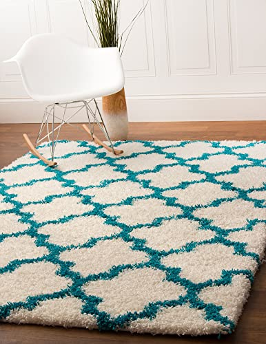 Super Area Rugs Moroccan Trellis Cozy Shag Rug for Home Decor 3 3 x 5 1 , White Turquoise
