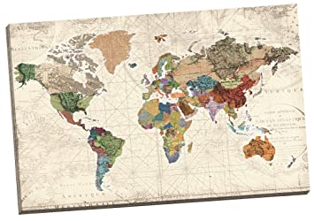 Amazon portfolio canvas decor world map of maps by studio portfolio canvas decor world map of maps by studio voltaire wrapped and stretched canvas gumiabroncs Images
