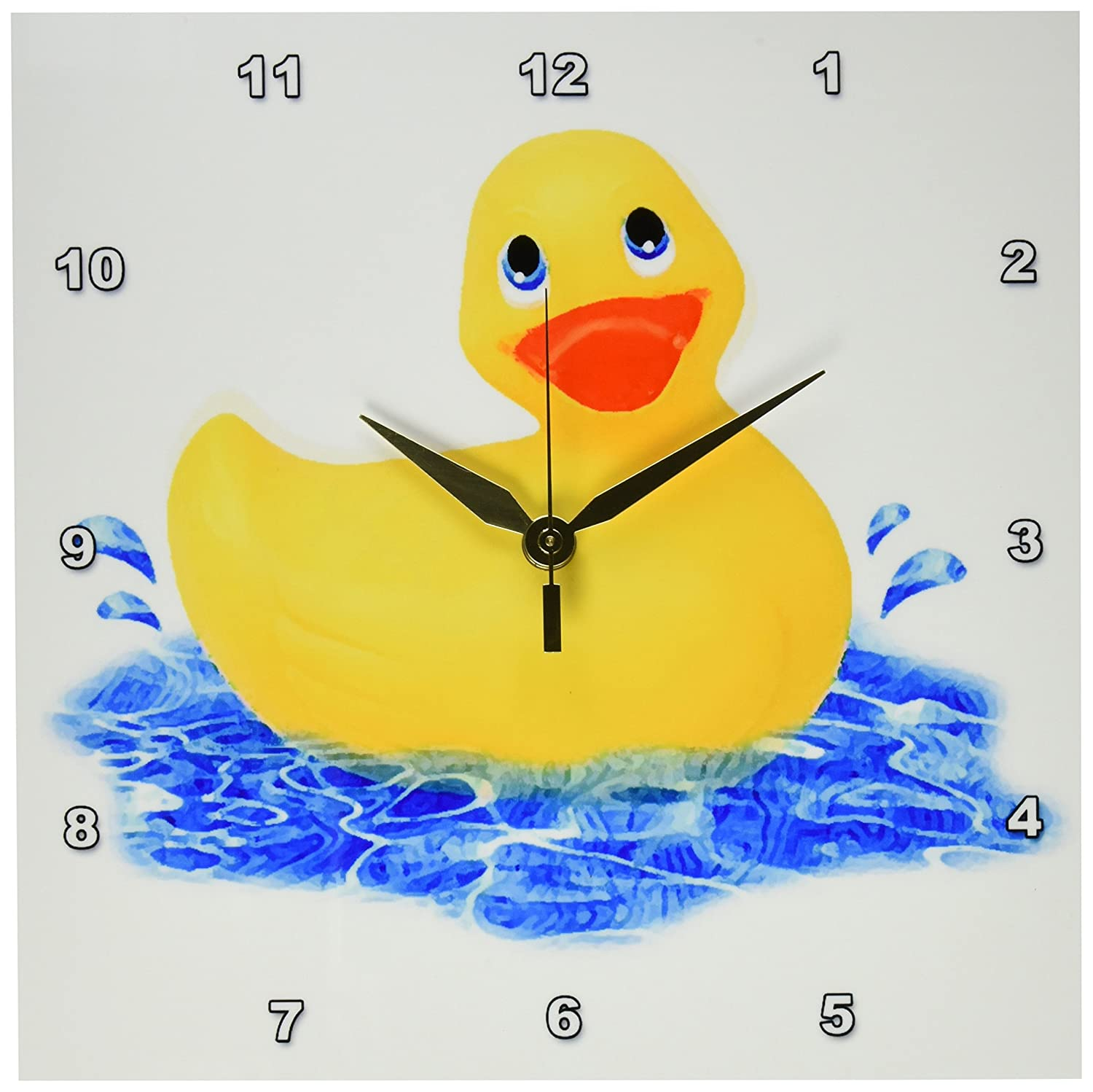 Amazon.com: 3drose Rubber Duck Wall Clock, 10 by 10-Inch: Home & Kitchen
