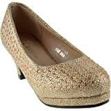 KP 101 K Little Girls Rhinestone Heel Platform Dress Pumps Silver
