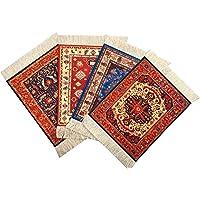 (Mix-4-5-7-8) - Set of 4 Rug Table Coasters - Persian Design Fabric Carpet Drink Mats (Mix-4-5-7-8)