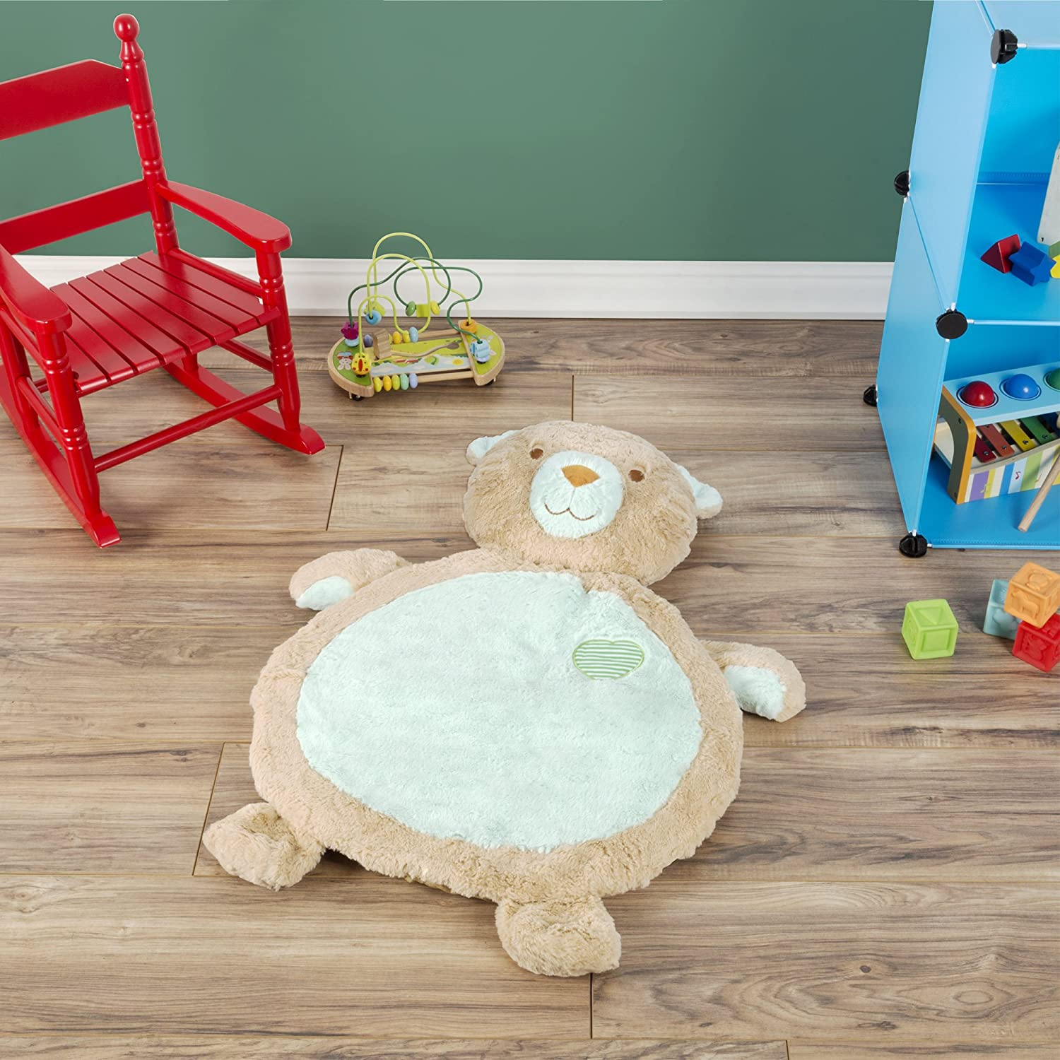 Tan Playing and Sitting for Boys and Girls Happy Trails 80-SUM-170330 Bear Baby Mat-Soft Infant//Toddler Stuffed Animal Floor Cushion Friend for Tummy Time