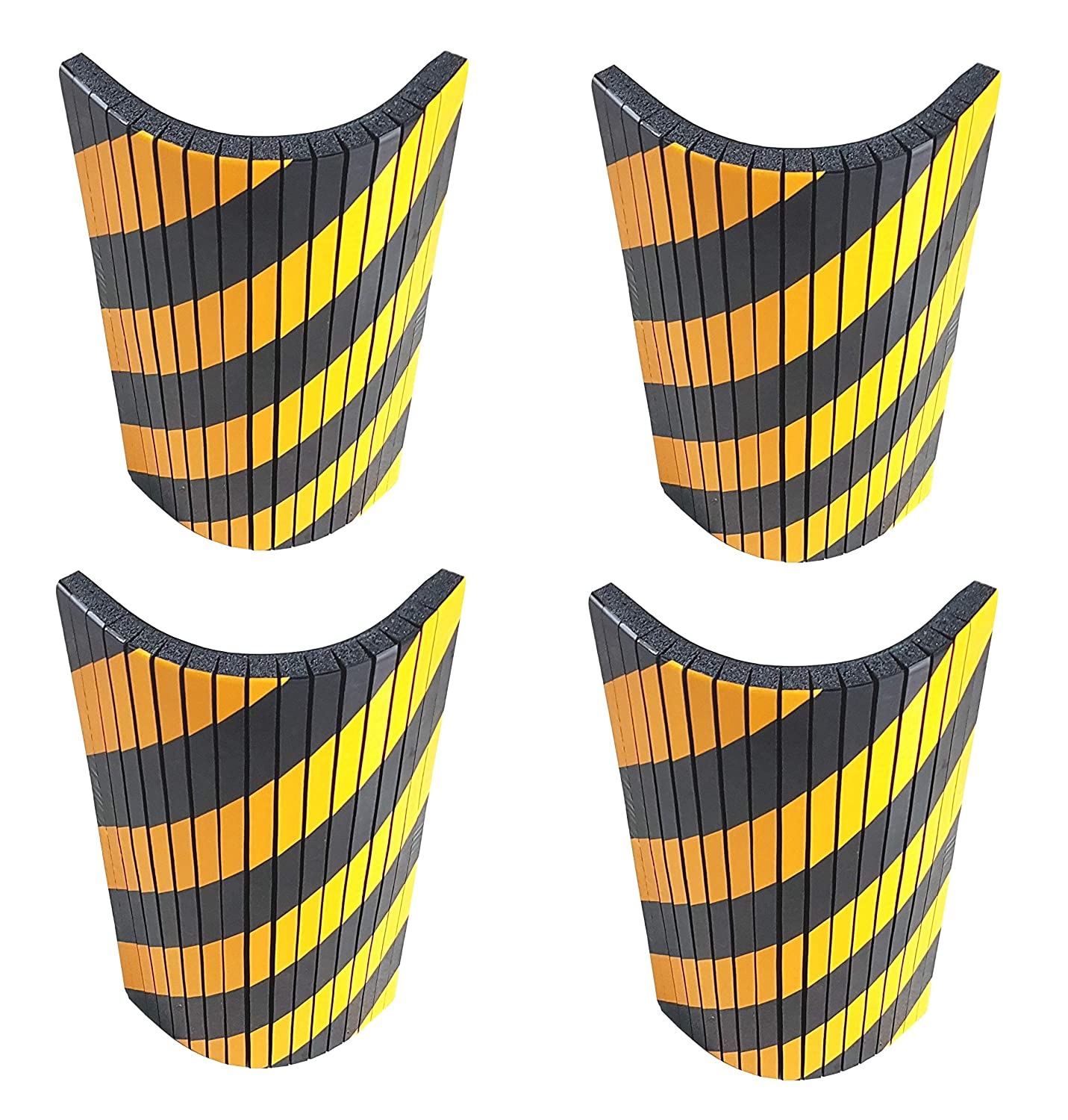 FSWP4425BYx4 Self-adhesive, foam wall guard, to protect car doors, dimensions 17.3'x9.8'x0.8' (44x25x2 cm), notched to fit in rounded edges, with strips black and yellow (Pack of 4 pcs) dimensions 17.3x9.8x0.8 (44x25x2 cm) CDS