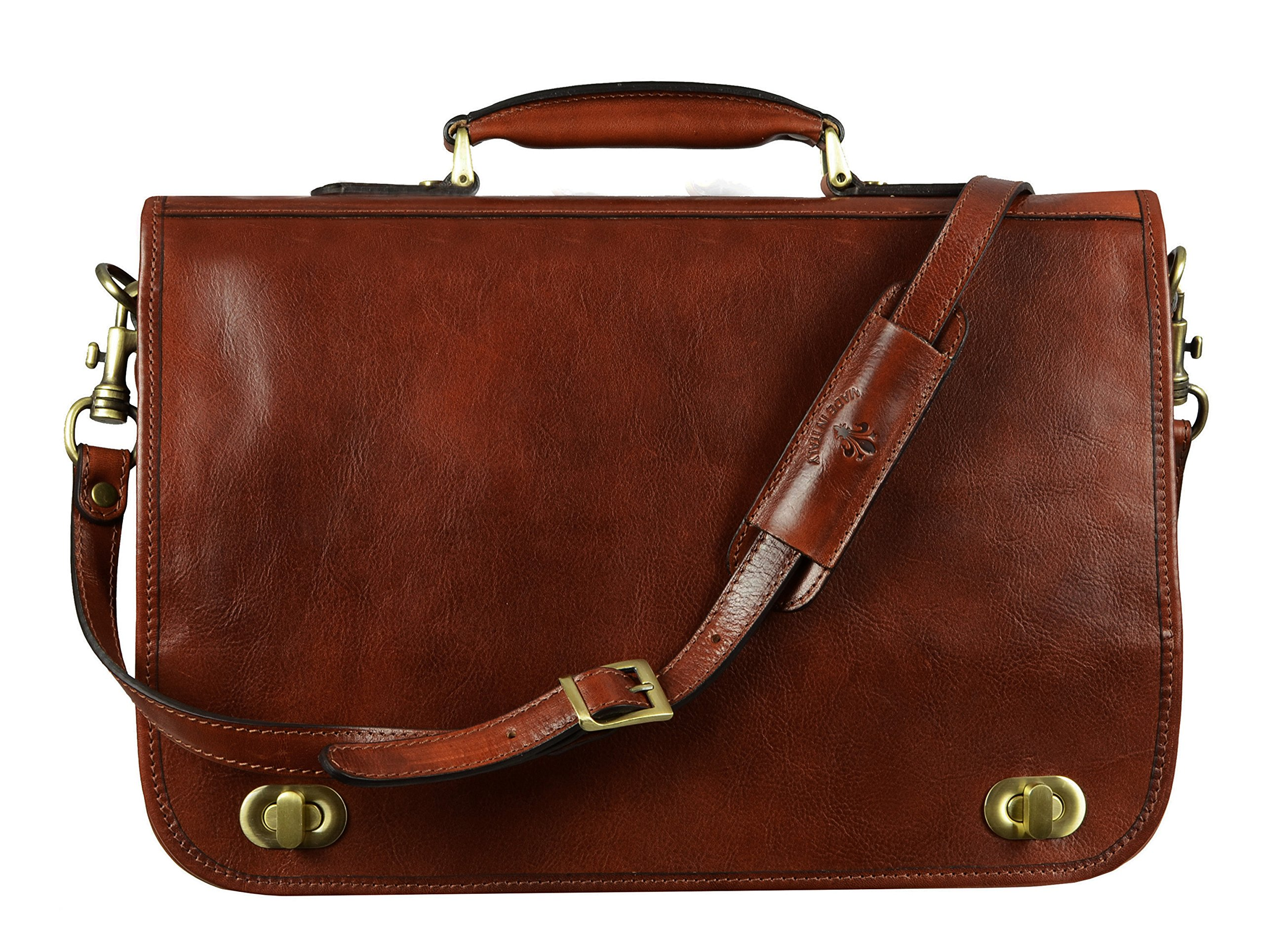 Leather Briefcase,Laptop Bag, Leather Attache Medium Brown - Time Resistance by Time Resistance