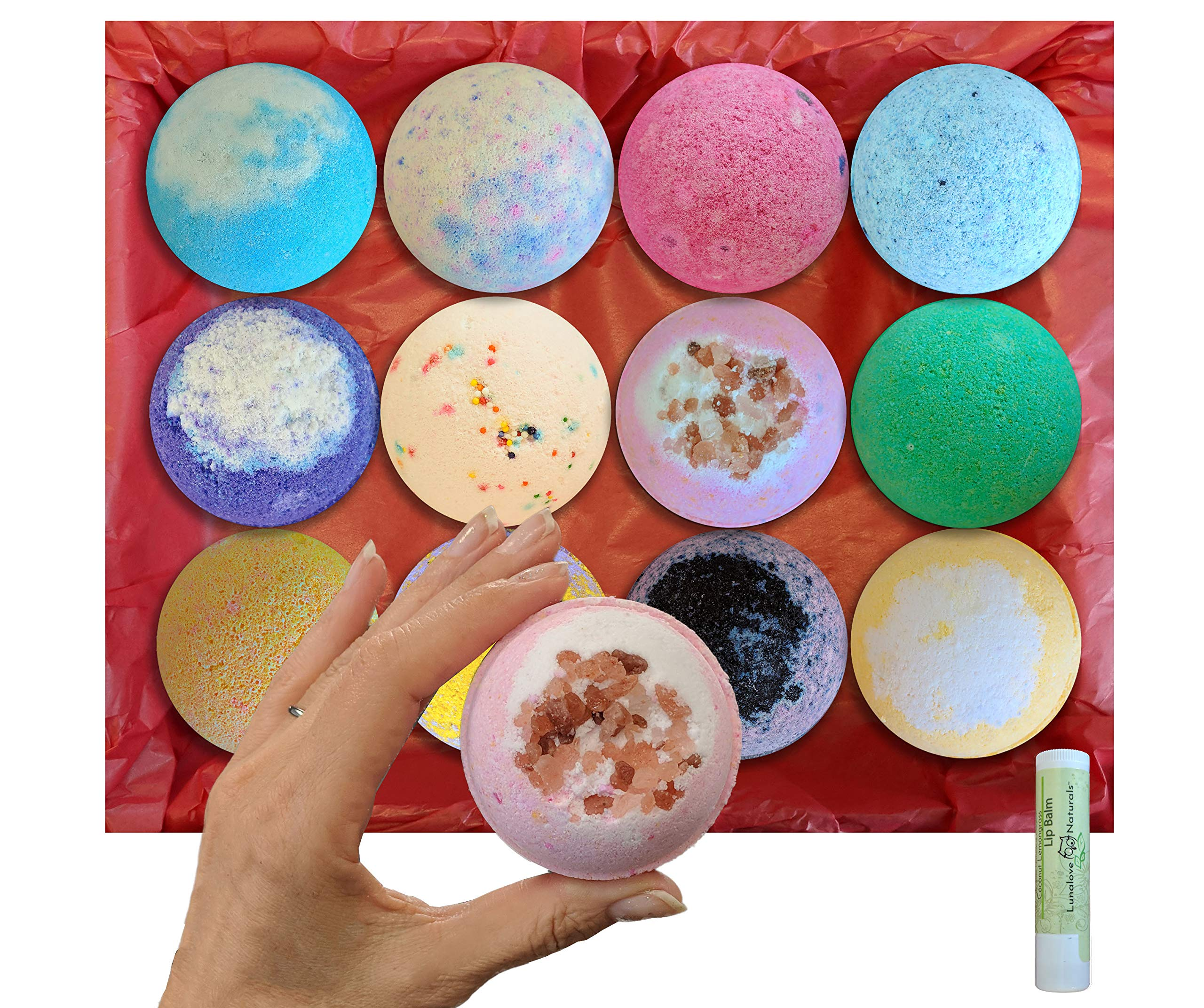 12 Extra Large 5 oz Vegan Bath Bombs, w/Free Lip Balm, Individually Wrapped Gift Set, Organic Coconut Oil & Aromatherapy Essential Oils, Cruelty Free, PABA Free, Handmade in the USA