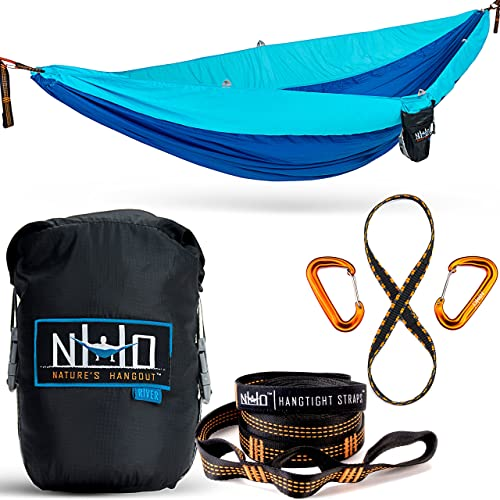 The HangEasy Portable Camping Hammock with Tear Resistant Parachute Nylon
