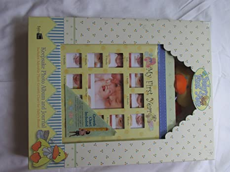 Babys First Year Keepsake Photo Album And Journal With Plush Growth