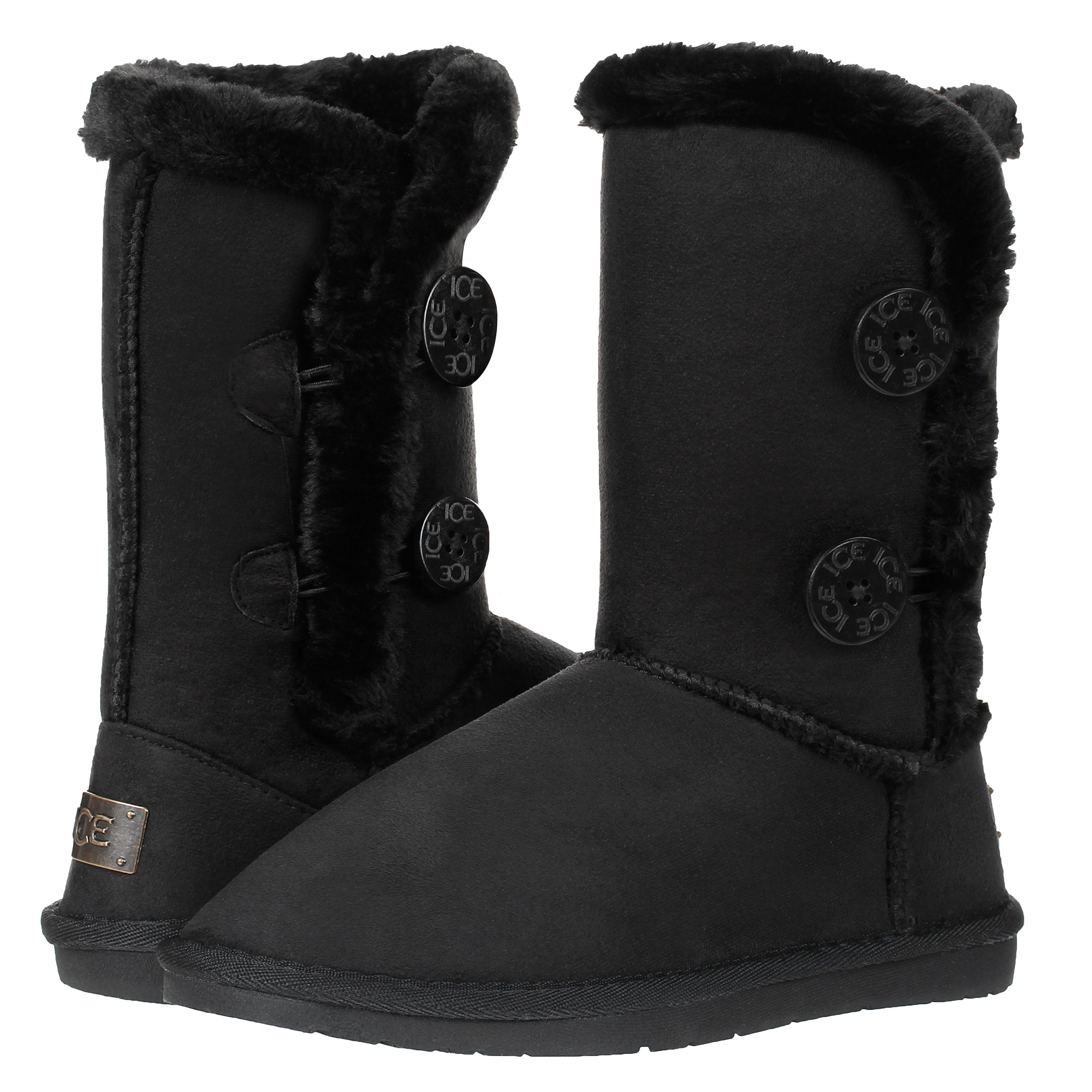 CLOVERLY Women's Twin Button Fully Fur Lined Waterproof Winter Snow Classic Boots (10, Black)