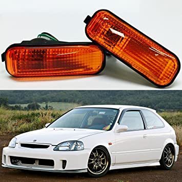 VXMOTOR 96 00 Honda Civic Amber Lens Dome Side Marker Lights Lamp  Replacement Fender JDM