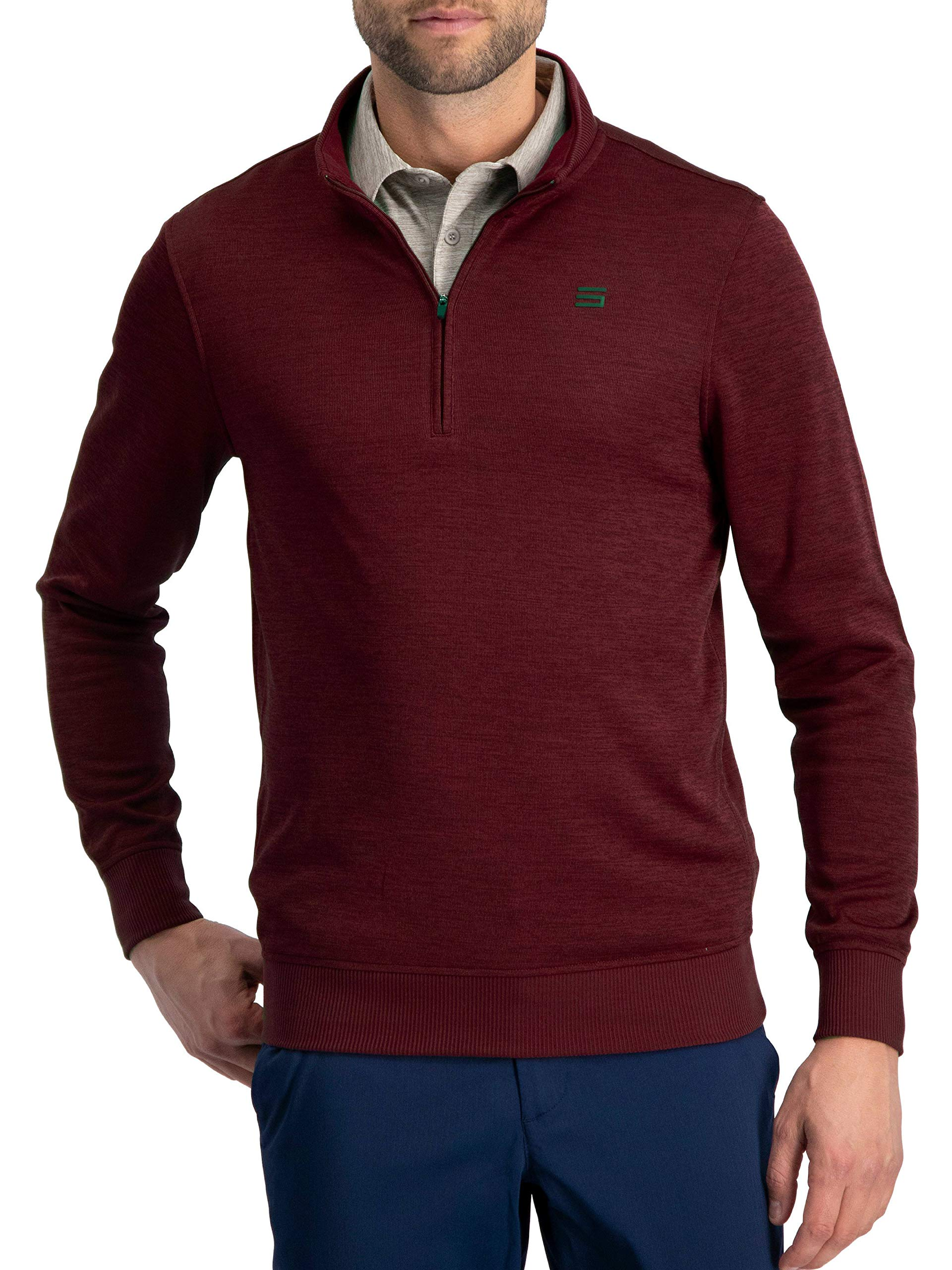 Dry Fit Pullover Sweaters for Men - Quarter Zip Fleece Golf Jacket - Tailored Fit Maroon by Three Sixty Six
