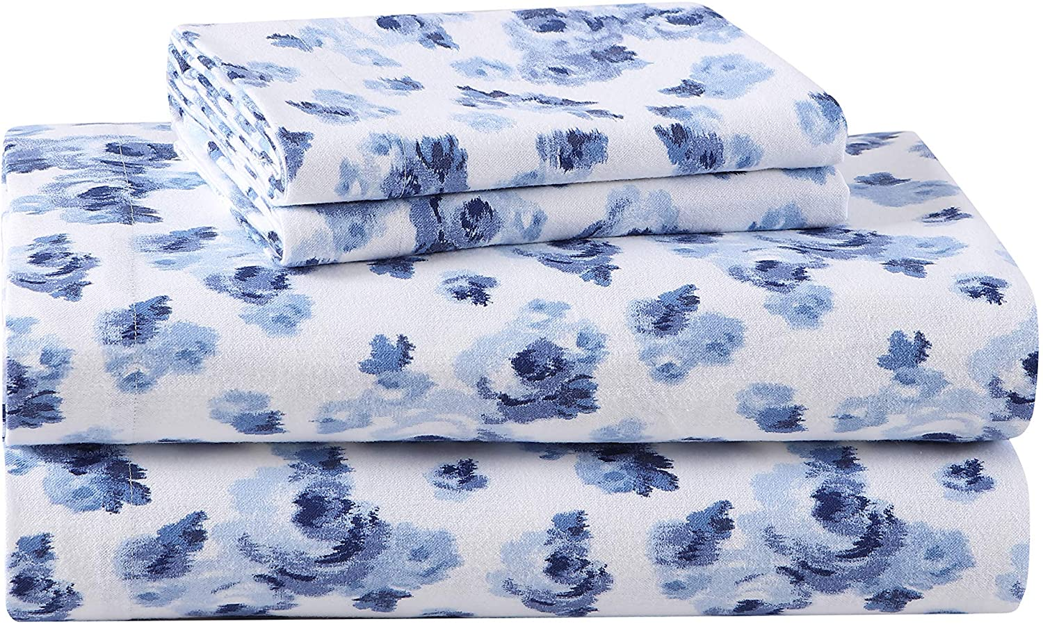 Laura Ashley Home - Flannel Collection - Sheet Set - 100% Cotton, Ultra-Soft Brushed Flannel, Pre-Shrunk & Anti-Pill, Machine Washable Easy Care, Twin, Emelisa